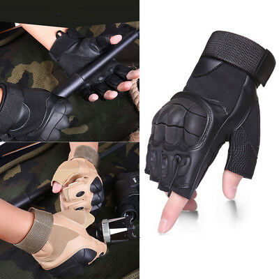 Military Tactical Fingerless Outdoor Motorcycle Hard Knuckle HalfFinger Gloves D