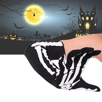 Winter Skeleton Print Halloween Costume Hand Long Arm Warmer Glove Cosplay AU