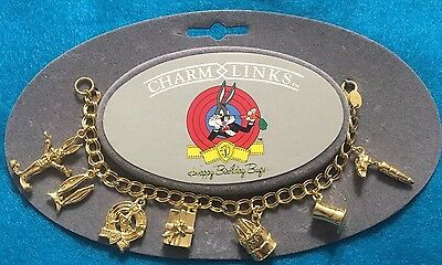Bugs Bunny 50th Anniversary Logo Charm Bracelet Gold Plated Original Packaging