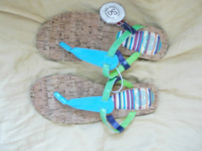 Women's Size 7/8 Green/blue Thong Sandals By So New