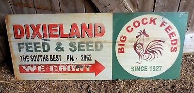 Vintage 1950's Dixieland Feed & Seed Big Cock Feeds Metal Advertising Sign 41x16