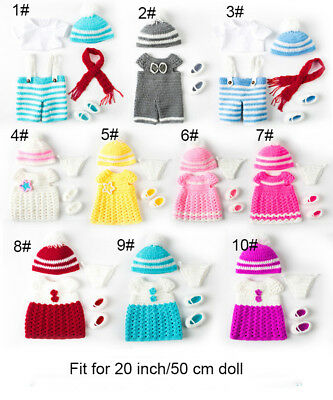 Handmade Knitting Newborn Clothes Set For Reborn Baby Doll Boy Girl Doll Outfit