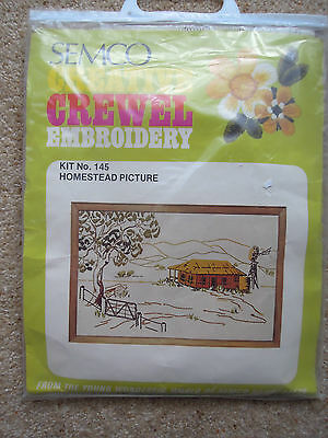 SEMCO CREATIVE CREWEL EMBROIDERY  # 145   HOMESTEAD PICTURE   53 x 81 cm.   New
