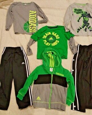 lot of 6 ADIDAS Green shirts, sweatpants, sweatshirt SIZE 7