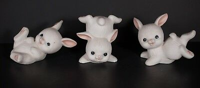 Homco White Bunnies Rabbits 1454 Lot of 3