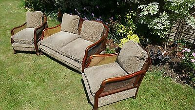 SUPERB ANTIQUE MAHOGANY BERGERE SUITE - 1920s / 1930s