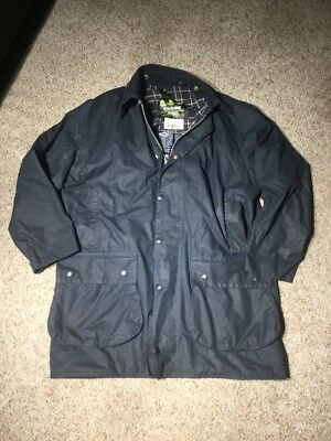BARBOUR BORDER A205 Mens Wax Waxed Cotton Jacket Coat Blue C42 107cm Nice!!!