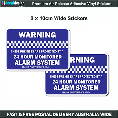 Monitored Alarm Security Warning stickers, home or office 2 pack of decals