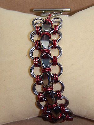 Hand-made Chain Maille Gothic style Glass Cuff Bracelet & Earrings Set