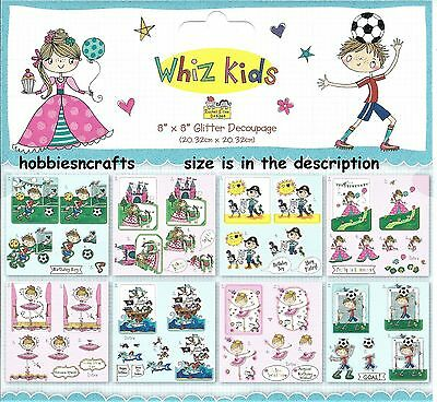 Trimcraft  8 X 8 Die Cut Decoupage Sample Pack - Whiz Kids - New - 8 Sheets