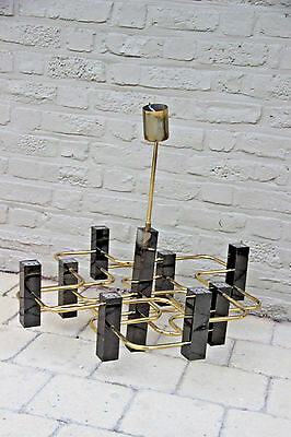 Mid century 70's Boulanger Sciolari 9 light brass metallic black Chandelier