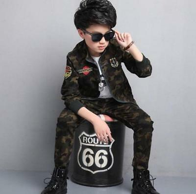 Boys Fashion Camouflage Sports Suit Army Green Collared Jacket + Pants All Size