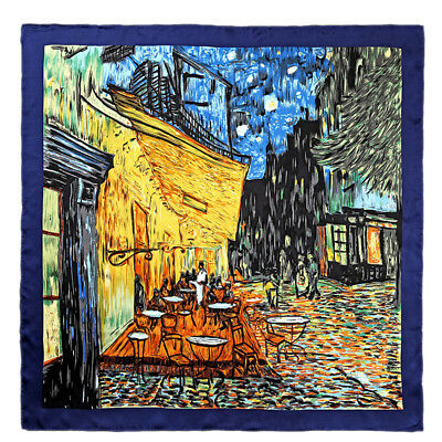 "Large Square 100% Silk Scarf Van Gogh's ""Cafe Terrace at Night"" Oil Painting"