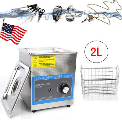 2L 60W Stainless Ultrasonic Cleaner Dental Jewelry Watch Cleaning Machine Timer
