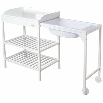 Baninni Baby Infant Bath Station and Changing Table Lavi Wood White BNBR006-WH