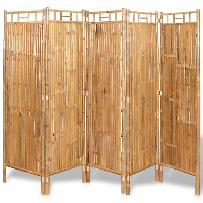 vidaXL 5-Panel Room Divider Privacy Screen Foldable Partition Separator Bamboo