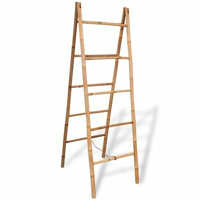 vidaXL Double Bathroom Free Standing Towel Ladder Rack Holder with 5 Rung Bamboo