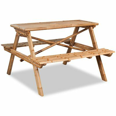 vidaXL Outdoor Graden Camping Picnic Table with Bench Party BBQ Stall Bamboo