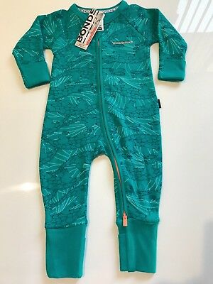 NWT Bonds Baby Ribbies Green Crocodile Ribbed Zip Wondersuit Sz 000-0 RRP$24.95