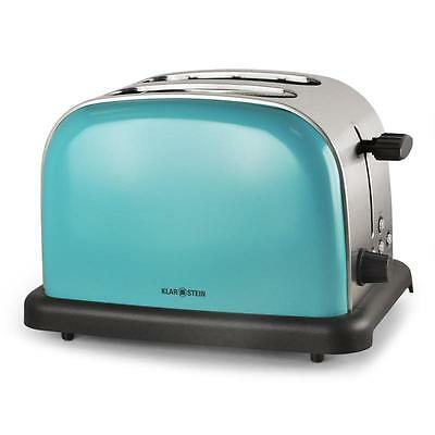 Stainless Steel 2-Slice Toaster Turquoise Blue Chrome Wide Slot Bagel Toasting