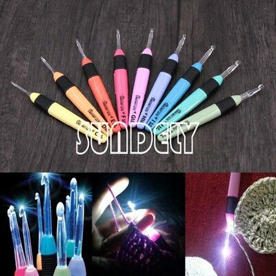 9pcs Various Sizes LED Light Up Crochet Lite Knitting Hook Needles Craft Set Kit