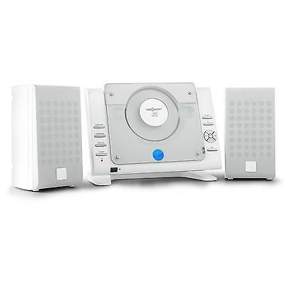 Compact Hifi Am Fm Radio Wall + Stand Stereo Speakers Cd Usb Sd Aux - White