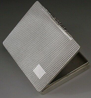 QUALITY AUSTRIAN 800 SOLID SILVER ENGINE TURNED BOX c1910 ART DECO ANTIQUE 96g
