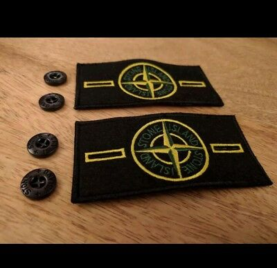 2 Stone Island Badge Patch with 4 Buttons genuine badge quick sale free post
