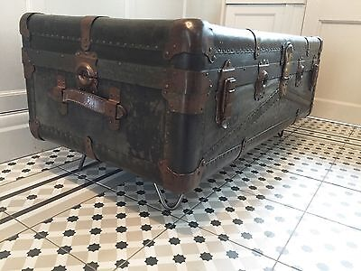 Vintage Steamer Travel Trunk Coffee Table Blanket Box