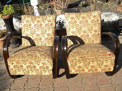 Retro Vintage Pair Of Czech Mid Century Halabala H269 Arm Chairs