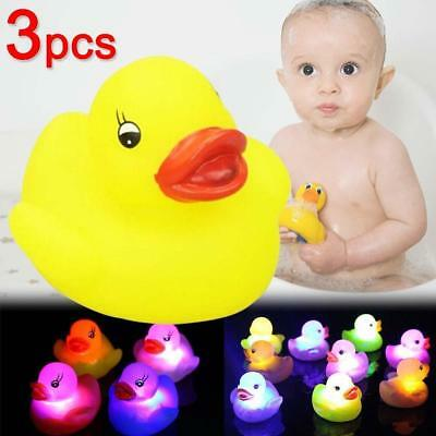 3 Rubber Colour Changing Ducks Fun Kids Bath Toy New Baby Ducks Led Light Lamp