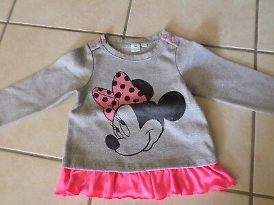 Sweat col rond manches longues gris/rose 18 mois fille Minnie §§!!§§