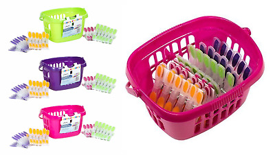 Peg Basket And 24 Soft Grip Pegs In Bright Eye Catching Colours Tidy UK Made