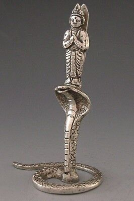 GOOD SIZED ANGLO INDIAN SOLID SILVER SNAKE MENU HOLDER c1900 ANTIQUE