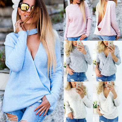 Womens Choker V Neck Jumper Ladies Long Sleeve Chunky Knitted Long Sweater Tops
