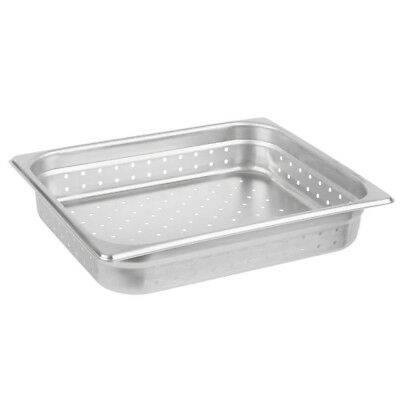 """1/2 Size 2 1/2"""" Deep Perforated Stainless Steel Steam Table / Hotel Pan"""