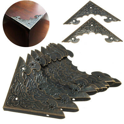 12pcs Antique Brass Jewelry Wine Gift Box Decor Wooden Corner Protector Guard