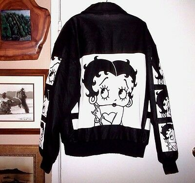 Rare BETTY BOOP Black Leather Jacket Lined Motorcycle Bomber Coat Mens M L NICE