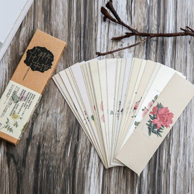 30pcs/set Vintage Flower Cartoon Bookmarks Chinese Style Paper Bookmarks