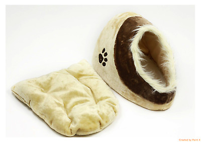 Soft Fleece Pet Bed with Fur Warm Cosy Igloo Cave for Dogs Cats Puppy Kitten New