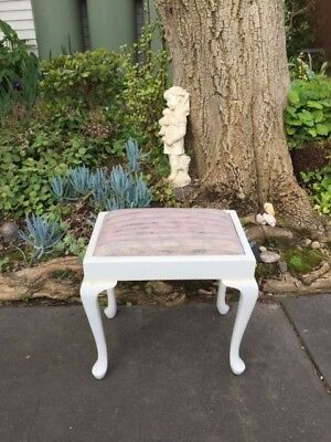 White Antique Queen Anne Dressing Table / Bedroom Stool!