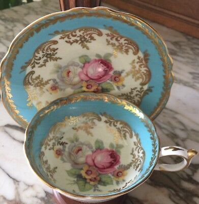 Vintage Paragon Fine Bone China Teacup And Saucer Turquoise With Roses MINT