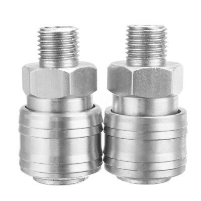 """2x Euro Air Line Hose Fitting Compressor Connector 1/4"""" BSP Male Quick Release"""