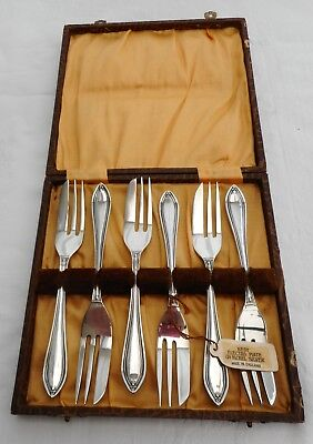 Art Deco silver plate cake or pastry forks Boxed set, unused Label attached