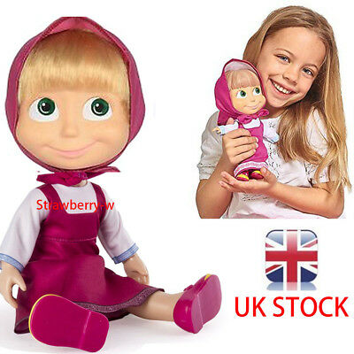 NEW Masha and The Bear 23cm Masha Doll Can Talk and Sing Kids Girls Toys Doll uk
