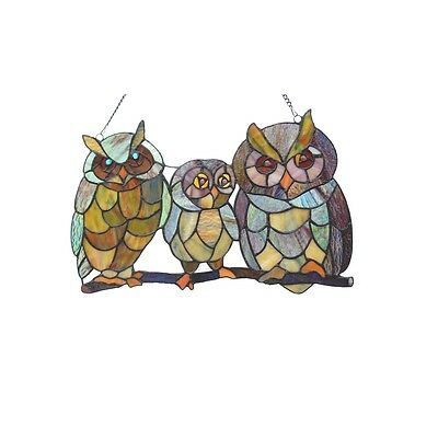 """Handcrafted Family Of Owls Tiffany Style Stained Glass Window Panel 11"""" x 27"""""""