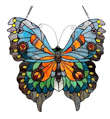 ~LAST ONE THIS PRICE~ Tiffany Style Butterfly Design Stained Glass Window Panel