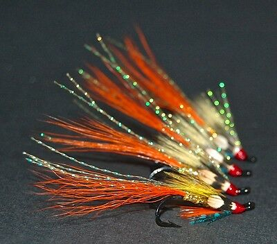 4 The Ghillie Salmon Flies Tied To Size 8 & 10 Double Hooks.