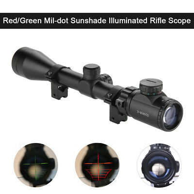 3-9x40 Magnifier Hunting Sight Telescopic Dot Air Rifle Scope With Rail Mount UK