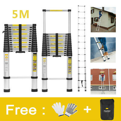 5M Multi-Purpose Aluminium Telescopic Ladder Extension Extendable Ladder EN131